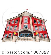 Clipart Of A Low Angle View Of The Front Of A Red Brick School Building An American Flag On The Roof Royalty Free Vector Illustration