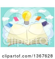 Clipart Of A Sketched Open Book On A Cloud With Other Books And A Light Bulb Royalty Free Vector Illustration by BNP Design Studio