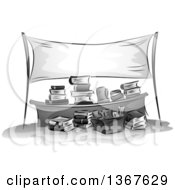 Clipart Of A Grayscale Sketched Desk With Stacks And Boxes Of Books Under A Blank Banner Royalty Free Vector Illustration