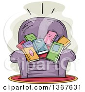 Clipart Of A Sketched Purple Arm Chair Filled With Books Royalty Free Vector Illustration