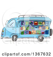Clipart Of A Sketched Blue Mobile Library Van Selling Books Royalty Free Vector Illustration