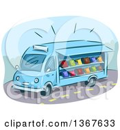 Clipart Of A Sketched Blue Mobile Library Van With Books Royalty Free Vector Illustration