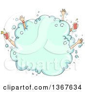 Clipart Of A Sketched Foarm Party Bubble With Hands Sticking Out Some Holding Beer Royalty Free Vector Illustration by BNP Design Studio