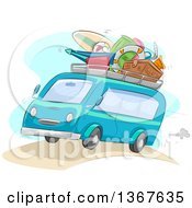 Sketched Blue Microbus Packed With Summer Beach Vacation Items On The Roof