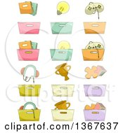 Clipart Of Sketched Organization Bins Royalty Free Vector Illustration by BNP Design Studio