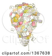 Clipart Of Sketched Books Forming A Light Bulb Royalty Free Vector Illustration