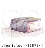 Clipart Of A Sketched Thick Book With A Ribbon Marker Sticking Out Royalty Free Vector Illustration