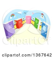 Clipart Of A Hallway With Colorful Book Doors Royalty Free Vector Illustration by BNP Design Studio