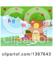 Tree School House With Apples Alphabet Letters And Books
