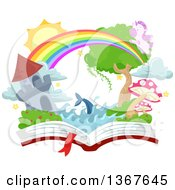 Clipart Of A Castle Tower Rainbow Dolphin Pegasus And Fantasy Land On An Open Book Royalty Free Vector Illustration