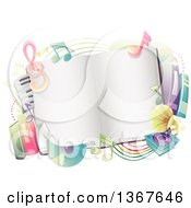 Blank Open Book With Colorful Music Note Other Books Cds A Keyboard And Phonograph