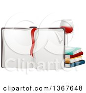 Red Ribbon Bookmark On An Open Upright Book With A Glass Of Red Wine And Stack Of Books
