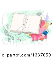 Clipart Of A Book Being Sewn Together With Craft Supplies Royalty Free Vector Illustration