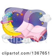 Clipart Of A Pink Open Story Book With A Happy Crescent Moon Wearing A Night Cap Royalty Free Vector Illustration