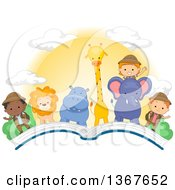 Clipart Of Explorer Children And African Animals With A Sunset On An Open Book Royalty Free Vector Illustration