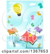 Clipart Of A Light Bulb Floating Over Letters Numbers Math Symbols And Book Plants Royalty Free Vector Illustration