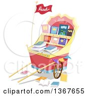 Clipart Of A Fancy Cart With Books For Sale Royalty Free Vector Illustration