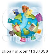 Clipart Of A Globe With Book Buildings On The Continents Royalty Free Vector Illustration