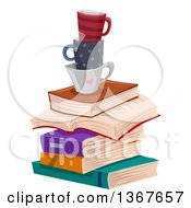 Clipart Of A Stack Of Books And Coffee Cups Royalty Free Vector Illustration