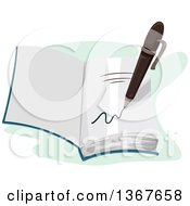 Clipart Of A Pen Signing A Page In A Book Royalty Free Vector Illustration