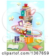 Clipart Of A Tower Of Stacked Books With A Train Track Royalty Free Vector Illustration
