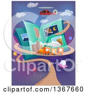 Clipart Of A Helicopter Over An Open Science Book With A Train Track Royalty Free Vector Illustration