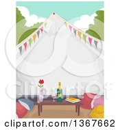 Clipart Of A Formal Glamping Tent With A Table Books Pillows And Wine Royalty Free Vector Illustration by BNP Design Studio