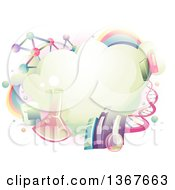 Clipart Of A Cloud Surrounded With Science School Subject Icons Royalty Free Vector Illustration by BNP Design Studio