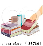 Clipart Of A Female Hand Picking Up A Book Royalty Free Vector Illustration
