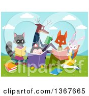 Clipart Of A Group Of Smart Animals Reading Books In A Valley Royalty Free Vector Illustration