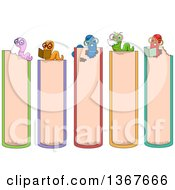 Clipart Of Book Side Markers With Worms Royalty Free Vector Illustration