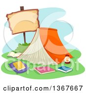 Clipart Of A Book Tent With A Blank Sign Royalty Free Vector Illustration