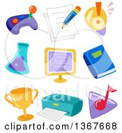 Clipart Of Educational Icons Royalty Free Vector Illustration