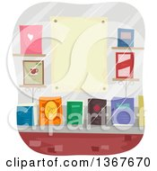 Clipart Of A Book Store Window Display With A Blank Poster Royalty Free Vector Illustration