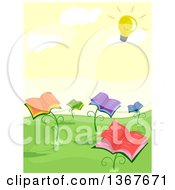 Clipart Of Book Flower Plants Bathing In The Sun Depicted As A Light Bulb Royalty Free Vector Illustration
