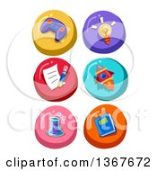 Clipart Of Colorful Round Educational Icons Royalty Free Vector Illustration