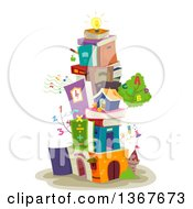 Clipart Of A Building Made Of Stacked Books Educational Items And A Light Bulb On Top Royalty Free Vector Illustration