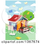 Clipart Of A School House Made Of Books With Book Birds Flying Royalty Free Vector Illustration