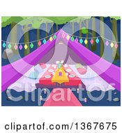 Clipart Of A Formal Glamping Tent With A Table Decorated With Lights Royalty Free Vector Illustration