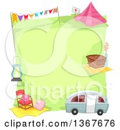 Clipart Of A Green Campsite Bordered With A Camper Picnic Basket Tent And Other Items Royalty Free Vector Illustration