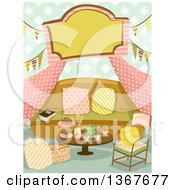 Clipart Of A Glamping Tent Interior With A Sign Bunting Banners A Sofa And Table With Tea Royalty Free Vector Illustration