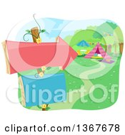 Clipart Of A Sign Post With An Arrow Pointing To A Glamping Site Royalty Free Vector Illustration