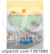 Clipart Of A Microbus Driving With Surfboards On A Curvy Coastal Road Royalty Free Vector Illustration