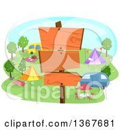Clipart Of A Post With Blank Wood Signs At A Camp Ground Royalty Free Vector Illustration