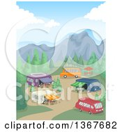 Clipart Of A Campground With Recreational Vechicles In The Mountains Royalty Free Vector Illustration by BNP Design Studio