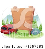 Clipart Of A Large Blank Wooden Sign Over A Camp Site And Car Royalty Free Vector Illustration