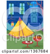 Clipart Of A Bbq Grill And Tent In A Back Yard Royalty Free Vector Illustration