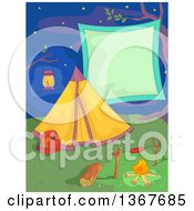 Clipart Of A Camp Site With A Tent Hot Dog On A Fire And Blank Sign Against A Night Sky Royalty Free Vector Illustration