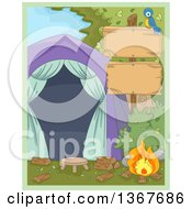 Clipart Of A Blue Bird On A Blank Wood Sign Post With A Campfire And Tent Royalty Free Vector Illustration