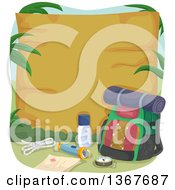 Clipart Of A Hiking Backpack And Camping Gear By A Blank Wood Sign Royalty Free Vector Illustration by BNP Design Studio
